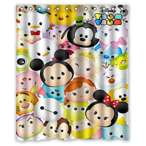 details about disney mickey mouse winnie the pooh kids tsum tsum microfiber shower curtain