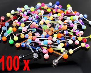 200 Kugeln 100 Stäbe Zungen Piercing Set UV Set Mix FREI Wahl