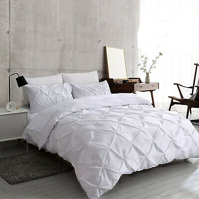 white pintuck duvet cover set 100 egyptian cotton bedding sets double king size ebay