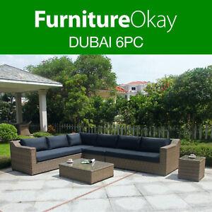 details about furnitureokay dubai 6pc wicker outdoor lounge setting patio furniture set