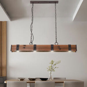 Industrial Style 4 Light Led Linear Wood Metal Pendant Light For Dining Area Ebay