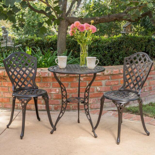 la sola outdoor 3 piece cast aluminum bistro set by christopher knight home