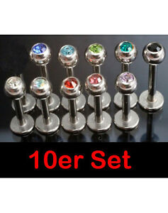 11er Set Lippenpiercing Ohrpiercing Labret Ohrstecker Piercing Ohr Stein