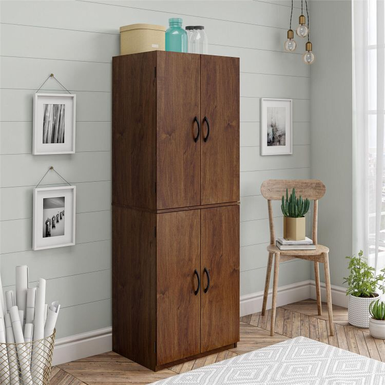 Kitchen Storage Cabinet With Doors Red Wood 4 Shelves Narrow Pantry Organizer For Sale Online Ebay