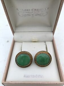 Chinese Antique Jade Earing With Silver Gold Plated