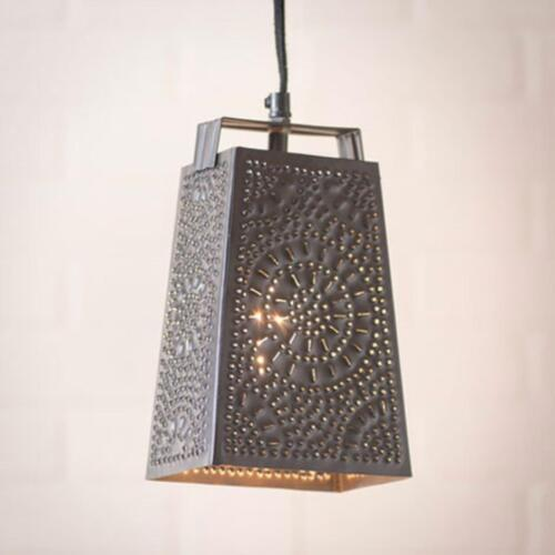 country new smokey black punched tin grater hanging light collectible lighting lamps ceiling fixture