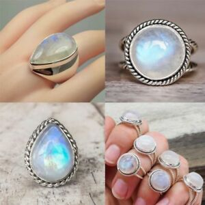 Antique 925 Silver Big Rare Moonstone Ring Round Teardrop ...