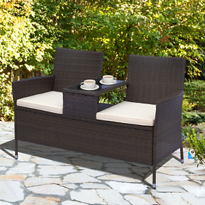 details about brown rattan garden bench 2 seater coffee table loveseat cushion sofa patio set