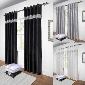 details sur strass rideaux paire de double fausse soie pret a l emploi a œillets noir argent blanc afficher le titre d origine