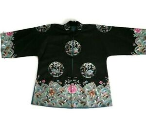 Antique Vintage Chinese Silk Jacket Robe Embroidered Swimming Birds Vignettes