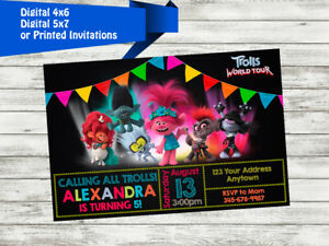 details about trolls world tour birthday party invitation personalized custom