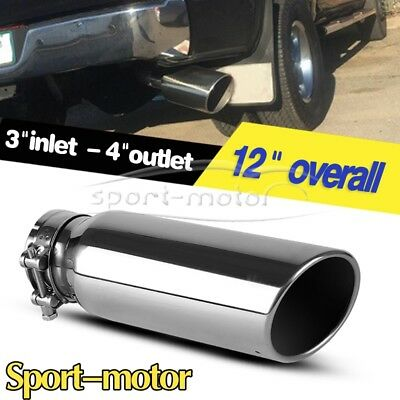 diesel exhaust tip 3 inlet 4 outlet 12 long rolled angle cut clamp on tailpipe ebay