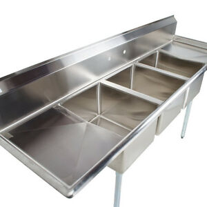 details about 88 stainless steel 3 compartment commercial dishwash sink restaurant three nsf