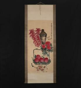 Qi Baishi Signed Old Chinese Hand Painted Scroll w/peaches & mum