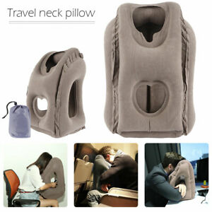 details about inflatable air travel pillow airplane head cushion neck support office nap rest