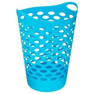 Panier A Linge Bleu Plastique Souple Bac Corbeille Vetements Sale 60 Litres Ebay