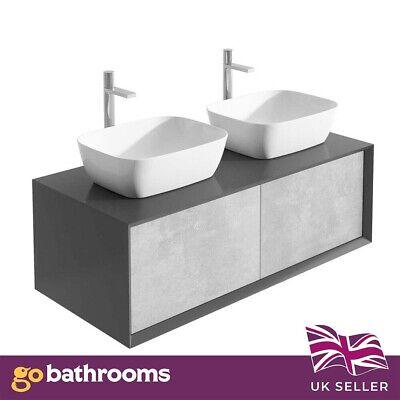 dali wall mounted bathroom double vanity unit black concrete grey 1200mm ebay