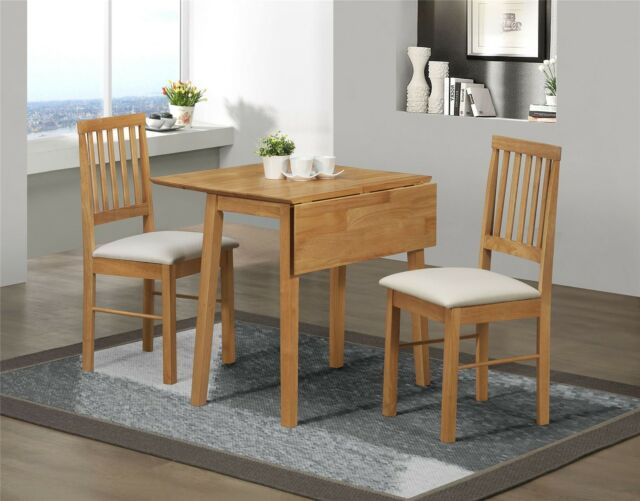 Birlea Rubberwood Small Drop Leaf Dining Table And 2