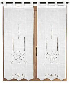 tende da sole tessuti bastoni e accessori zanzariere tappeti tappeti moderni. Tenda Arredo Finestra Ricamata 2 Pannelli Coppia Tendine Cucina Bagno Mod Belind Ebay