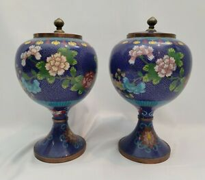 Antique Pair Chinese Cloisonne Unusual Form Vases 19th Qing