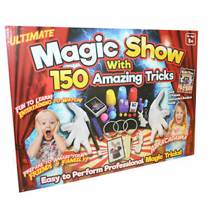 MEGA MAGIC BOX KIDS 150 TRICKS MAGICIAN HAT RABBIT PERFORM TOY SET ...