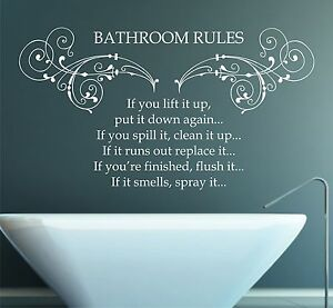 bathroom rules wall stickers – wall murals ideas