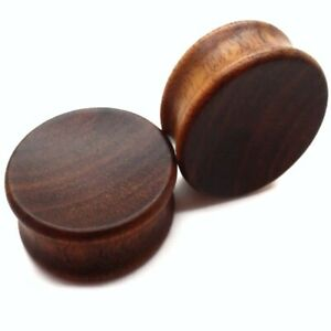 PAAR 8MM-30MM HOLZ OHR PLUGS TUNNELS WOOD EAR PLUG OHRSTECKER PIERCING TUNNEL