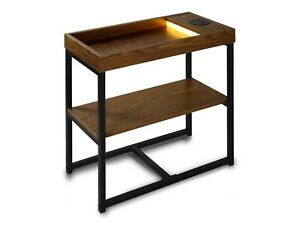 details about technical pro modern side table with bluetooth speaker usb charging led light