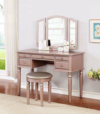 tri folding mirror vanity set wood makeup table w stool 5 drawer rose gold ebay
