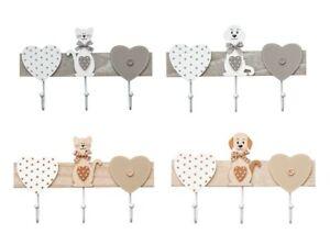 Coat Hooks 3 Hook Rack Wall Mounted For Kids Room Nursery Adults Cat Dog Design Ebay