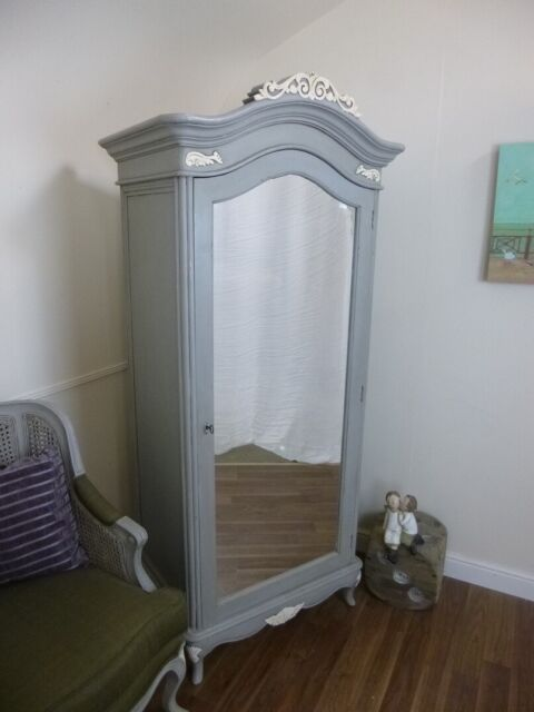 charroux single armoire wardrobe in mercury grey shabby chic style