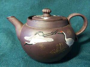 Chinese PURPLE Clay Yixing Zisha Teapot Enamel White Painting of CRANES Birds