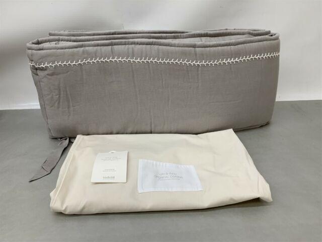 restoration hardware baby child ultra fine cotton grey crib bumper 8340 0181