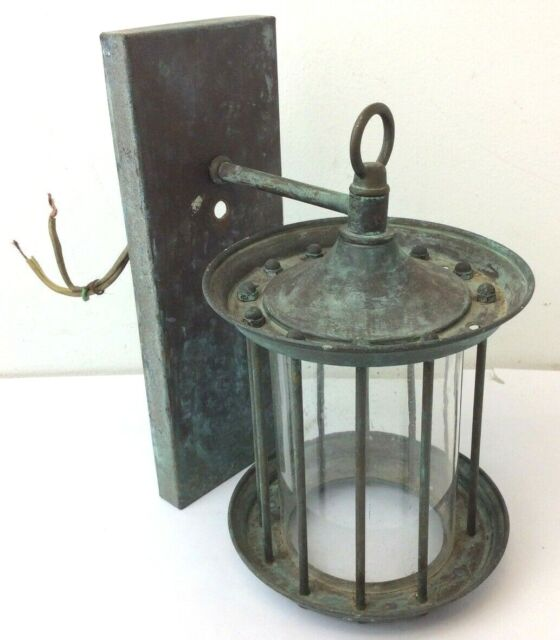 Weathered Brass Metal Caged Electric Single Outdoor Wall ... on Wall Sconce Parts id=78176