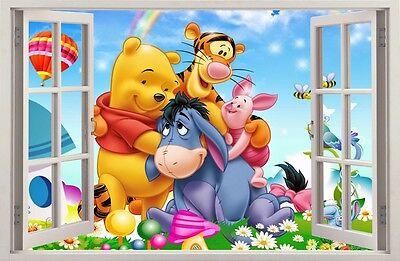 adesivi murali tigger e pooh Wall Stickers 3d Effect Window Winnie Pooh Decorative Sticker 61 Ebay