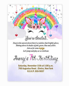 details about unicorn birthday invitations party invites rainbow large size 20 with envelopes