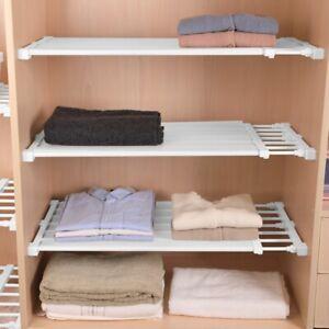 details about extendable closet shelf rod clothes organizer storage rack separator divider