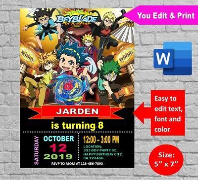 personalized beyblade burst birthday party invitation template digital invite ebay
