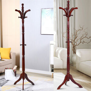 details about premium wood coat rack free standing floor stand hall tree holder wooden hat us