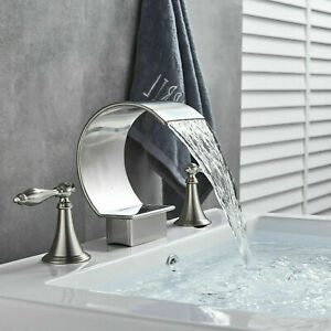 details about widespread bathroom vanity sink faucet 2 handle three hole brushed nickel tap