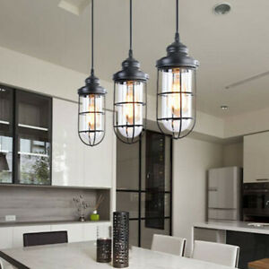Industrial Glass Pendant Lights Modern 3 Light Kitchen Island Lighting Fixture Ebay