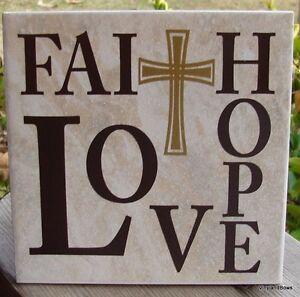 details about faith hope love 6x6 religious vinyl decorative ceramic tile with cross