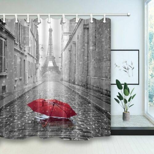 paris red umbrella in rain eiffel tower bathroom fabric shower curtain set 71