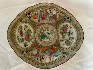 """Antique Chinese Famille Rose Medallion Oval Platter, 10-5/8"""" x 9-1/4""""."""