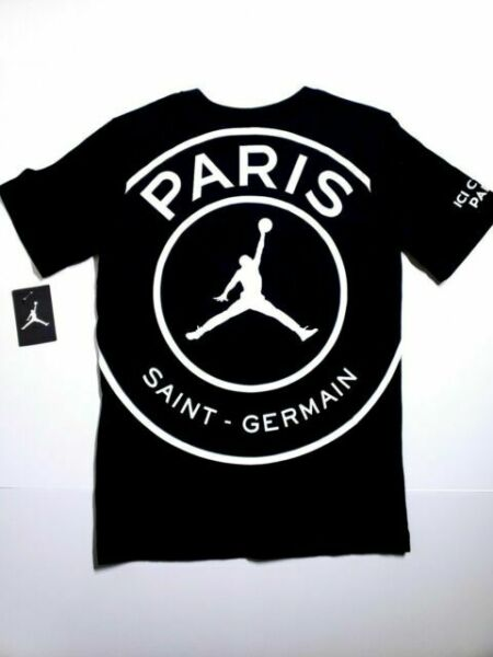 nike jordan x psg paris saint germain black cotton big logo t shirt youth large