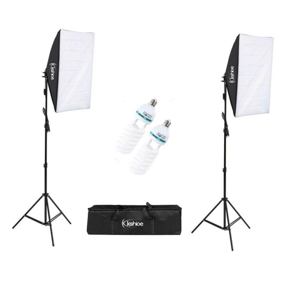 kshioe 4332044702 135w continuous lighting kit with 2 softbox light and carry bag