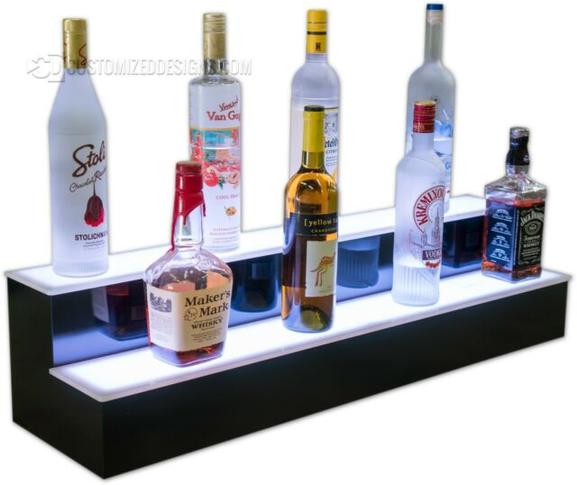 36 2 step led lighted glowing liquor bottle display shelf home back bar rack