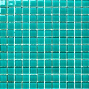 details about 1x1 turquoise green pool glass mosaic tile