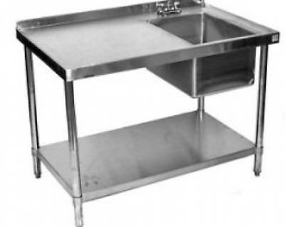 24x84 stainless steel prep table with sink on right ebay