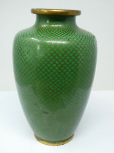 Vintage Chinese Green Ground Cloisonne Vase 15cm